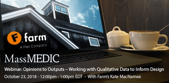 Webinar: Working with Qualitative Data to Inform Design, Oct. 23rd, 12-1 PM